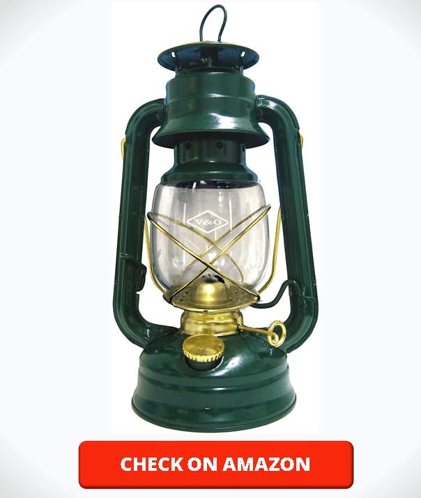 Glo Brite by 21st Century 210-76040 Centennial Gold Trim Oil Lantern, Green