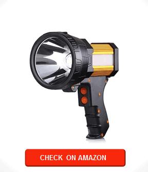 BUYSIGHT Rechargeable spotlight,Spot lights hand held large flashlight 6000 lumens handheld spotlight Lightweight and Super bright flashlight (Aluminium_Alloy Golden)