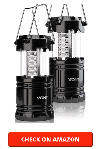 Vont 2 Pack LED Camping Lantern, Super Bright Portable Survival Lanterns, Must Have During Hurricane, Emergency, Storms