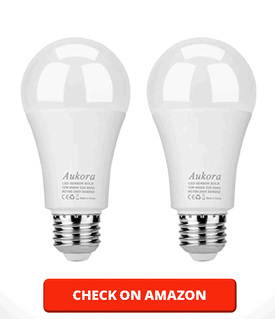 Aukora Dusk to Dawn Light Bulb, 12W (100 Watt Equivalent) Smart Sensor Light Bulbs Super Bright E26 Automatic On Off Security Lights Outdoor Indoor for Porch Garage Garden Patio(Cool White 2 Pack)