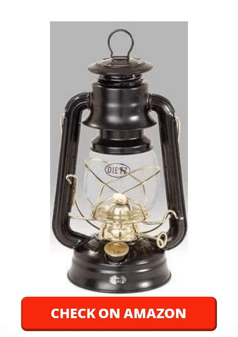 Dietz Original 76 Oil Lamp Burning Lantern Black with Gold Trim