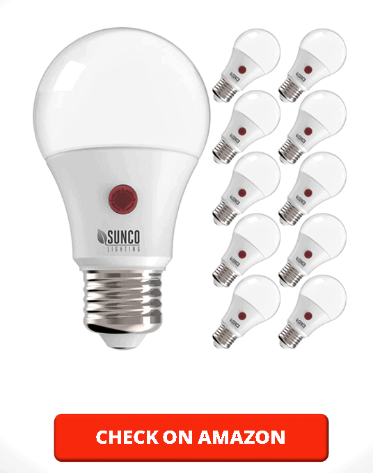Sunco Lighting 10 Pack A19 LED Bulb with Dusk-to-Dawn, 9W=60W, 800 LM, 2700K Soft White, Auto On Off Photocell Sensor - UL