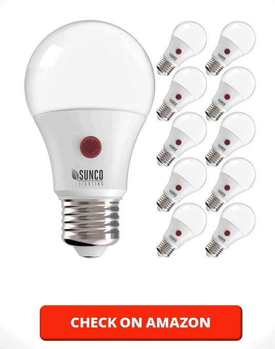 Sunco Lighting 10 Pack A19 LED Bulb with Dusk-to-Dawn, 9W=60W, 800 LM, 2700K Soft White, Auto On Off Photocell Sensor - UL