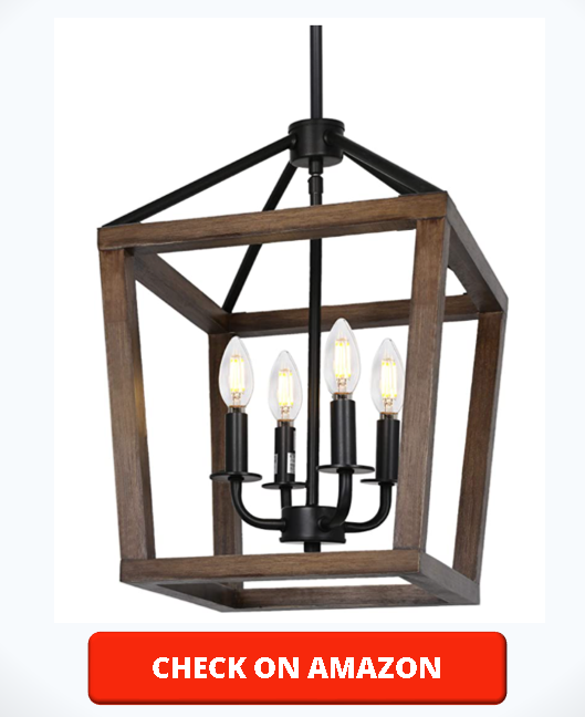 4-Light Rustic Chandelier, Adjustable Height Lantern Pendant Light with Oak Wood and Iron Finish, Farmhouse Lighting Fixtures for Dining Room, Kitchen, Hallway and Entryway, 18H x 12W, ETL Listed