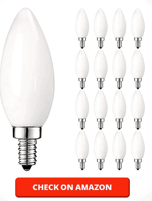 Luxrite LED Chandelier Light Bulbs, E12 LED Bulb Dimmable, 40 Watt Equivalent, 2700K Warm White, Frosted LED Candelabra Bulb, Flame Tip Glass, 360 Lumens, UL Listed (16 Pack)