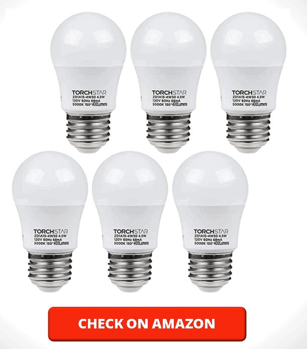 TORCHSTAR 4.5W A15 LED Light Bulb, 40W Equivalent Light Bulb, UL-Listed, E26 E27 Medium Base, 5000K Daylight, for Ceiling Fan, Desk Lamp, Floor Lamp, Pack of 6